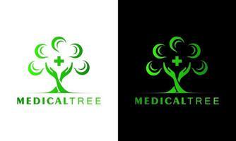 Ilustration vector graphic of Natural hand leaf tree medical logo