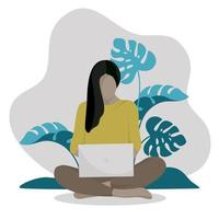 Woman working at home in garden,person working on laptop vector
