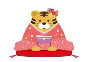 The Year Of The Tiger Mascot. A Personified Tiger Dressed In Kimono. vector