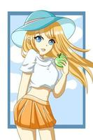anime girl cabello amarillo con manzana en el personaje de diseño de verano vector