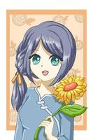 chica anime manga con girasol en el verano vector