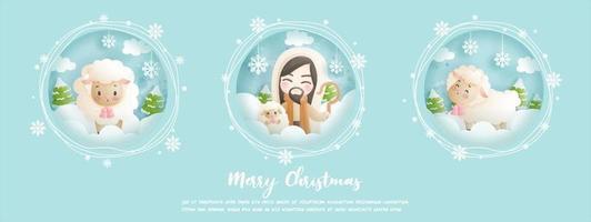 tarjeta de navidad, concepto de celebración con jesucristo vector