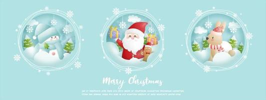 Christmas card, celebrations with cute Santa vector