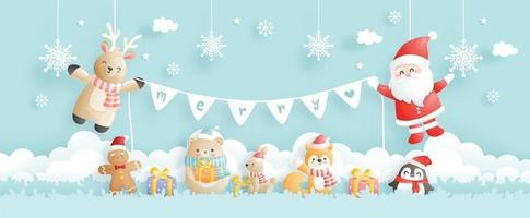 Christmas card, celebrations with Santa and friends, vector