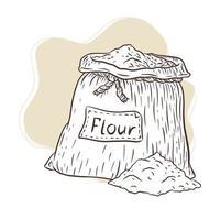 Ilustración grabada de bolsa de lona con harina vector