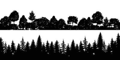 Set Black Horizontal Silhouettes Coniferous Tree Illustrator vector