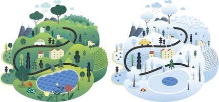 Magical Season Landscape Illustrator vector