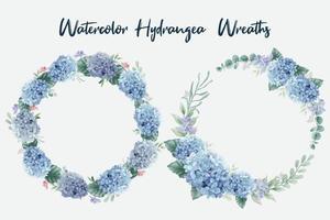 acuarela azul hortensia flores coronas vector