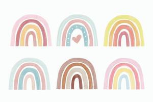 Watercolor Pastel Color Rainbows Set vector