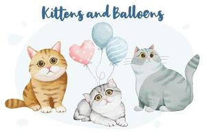Cute Kittens and Balloons vector
