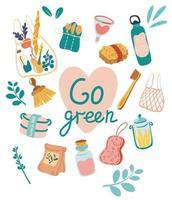 Zero waste elements Go green concept No plastic  vector