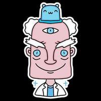 professor and little cat alien. illustration for apparel merchandise. vector