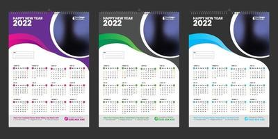 Single wall calendar 2022 template design with Place for Photo vector
