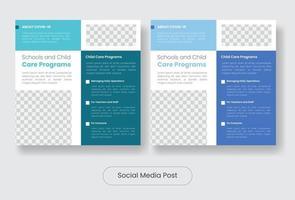 Child covid 19 information programs instagram post banner template set vector
