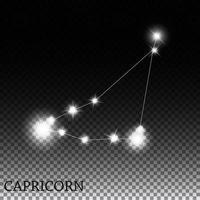 Capricornio signo del zodíaco de la hermosa ilustración de vector de estrellas brillantes