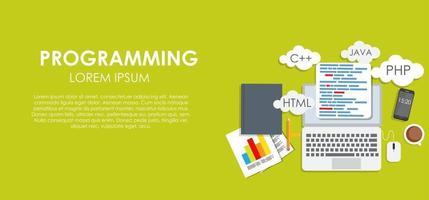 Programming Coding Concept Flat Background Vector Illustration