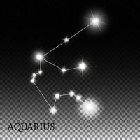Aquarius Zodiac Sign of the Beautiful Bright Stars Vector Illustration