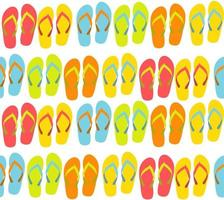 Beach Seamless Background with Flip Flops Vector Illustration