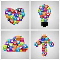 icono de botón de cristal en forma de corazón, bombilla, nube, flecha. ilustración vectorial vector