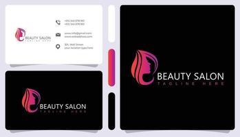 Abstract hair salon logo and business card vector