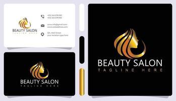 Luxury hair salon logo and business card vector