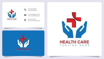 Medical logo with business card template vector