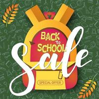 Vector Back to school Sale banner with pattern and backpack.