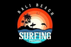 bali beach design silhouette retro style vector