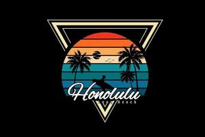 honolulu long beach silhouette design retro style vector