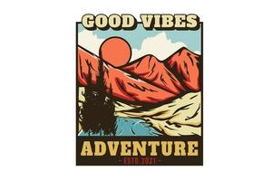 good vibes adventure hand drawn illustration design vector