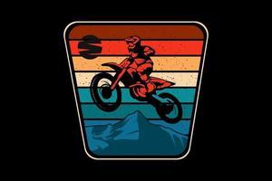 Diseño de silueta de aventura de motocross estilo retro vector