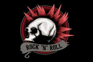 rock and roll illustration design with skull vector