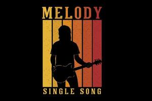 guitarist melody single song silhouette design vector