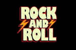 rock and roll hand drawn typography design vector