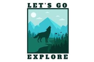let's go explore flat illustration design vector