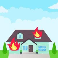 Burning house flat style design vector illustration.
