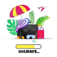 Summer holiday tropical vacation travel gradient flat style design. vector