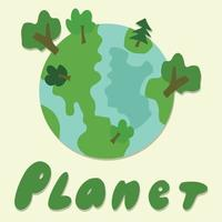 planet earth with green trees vector