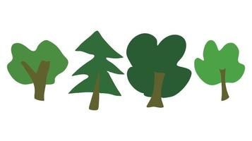 cute vector green forest trees drawn by hand