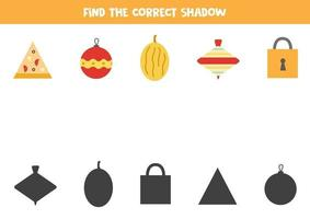 Find the correct shadows of geometrical items. vector