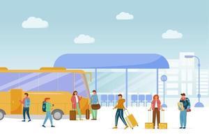 Bus station platform flat vector illustration