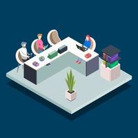 Modern book library isometric color vector illustration