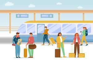 Railway station flat vector illustration