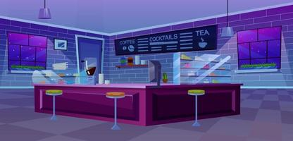 Cafe modern interior flat vector illustration
