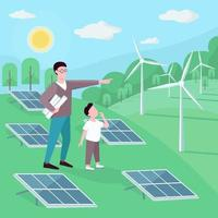 Father and son at alternative energy station flat color illustration vector