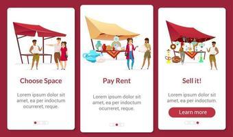 Bazaar business onboarding mobile app screen flat template vector