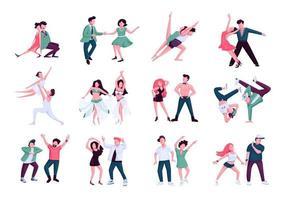 Partner dance flat color vector faceless characters set