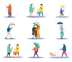 People with umbrellas flat color vector faceless characters set