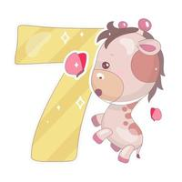 Cute seven number with baby giraffe cartoon illustration vector