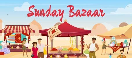 Sunday bazaar flat color vector illustration